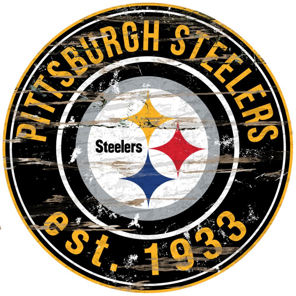 "Steelers Wall Art steelers distressed 24"" x 24"" round wall art"