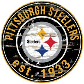 """Pittsburgh Steelers Distressed 24"""" x 24"""" Round Wall Art"""