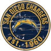 "San Diego Chargers Distressed 24"" x 24"" Round Wall Art"