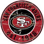 San Francisco 49ers Distressed 24' x 24' Round Wall Art