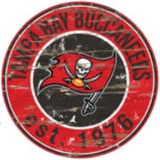 """Tampa Bay Buccaneers Distressed 24"""" x 24"""" Round Wall Art"""