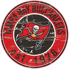 Tampa Bay Buccaneers Distressed 24' x 24' Round Wall Art