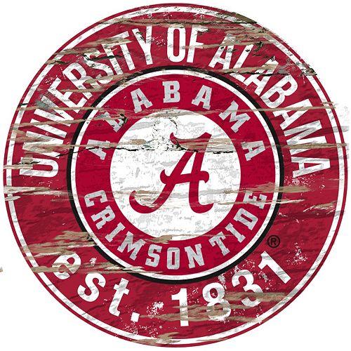 "Alabama Crimson Tide Distressed 24"" x 24"" Round Wall Art"