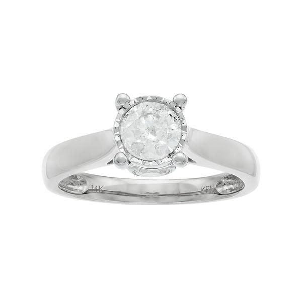 14k Gold 1 Carat T.W. Diamond Engagement Ring - White (9)