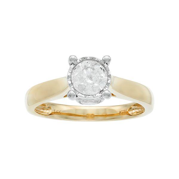 14k Gold 1 Carat T.W. Diamond Engagement Ring - Yellow (6)