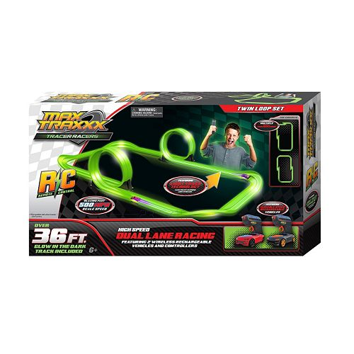 Max Traxxx 36-ft. Tracer Racer Glow-In-The-Dark Remote Control Dual Lane Loop Set