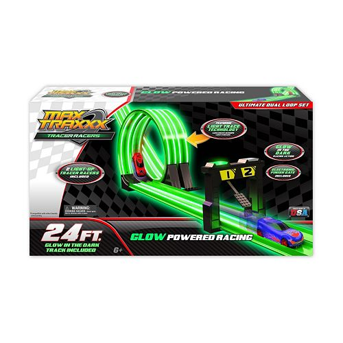 Max Traxxx Tracer Racer Glow-In-The-Dark 24-ft Ultimate Duel Loop Race Set