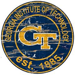 Georgia Tech Yellow Jackets Distressed 24' x 24' Round Wall Art