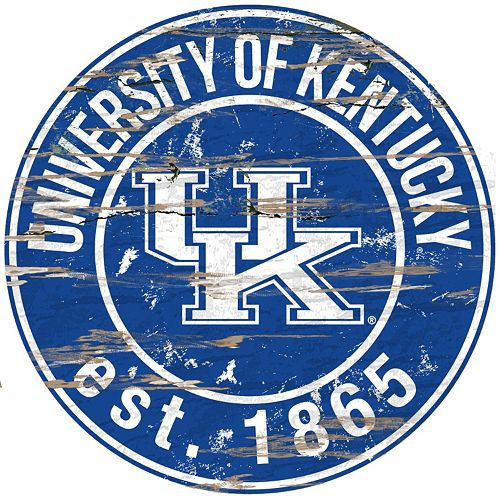 "Kentucky Wildcats Distressed 24"" x 24"" Round Wall Art"