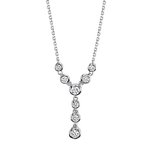 Sirena Collection 14k White Gold 1/4 Carat T.W. Certified Diamond Y Necklace