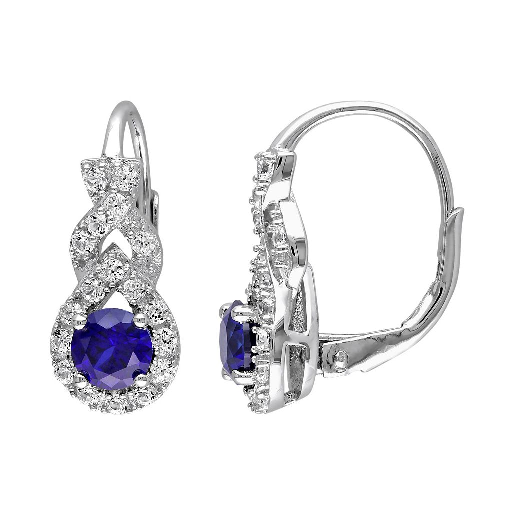 Lab-Created Blue & White Sapphire Sterling Silver Twist Drop Earrings