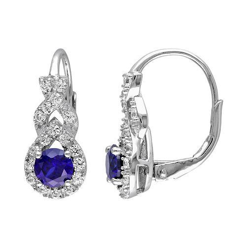 Lab-Created Blue & White Sapphire Sterling Silver Twist Drop Earrings