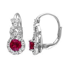 Stella Grace Lab-Created Ruby & Lab-Created White Sapphire Sterling Silver Twist Drop Earrings