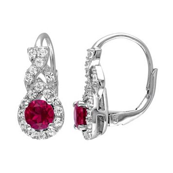 Lab-Created Ruby & Lab-Created White Sapphire Sterling Silver Twist Drop Earrings