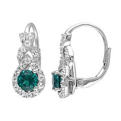 Lab-Created Emerald & Lab-Created White Sapphire Sterling Silver Twist Drop Earrings