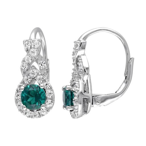 Stella Grace Lab-Created Emerald & Lab-Created White Sapphire Sterling Silver Twist Drop Earrings