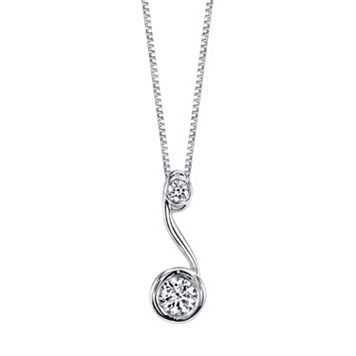 Sirena Collection 14k White Gold 1/5 Carat T.W. Certified Diamond Swirl Pendant Necklace
