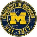 "Michigan Wolverines Distressed 24"" x 24"" Round Wall Art"