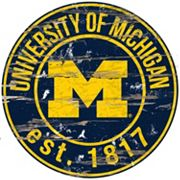 Michigan Wolverines Distressed 24' x 24' Round Wall Art