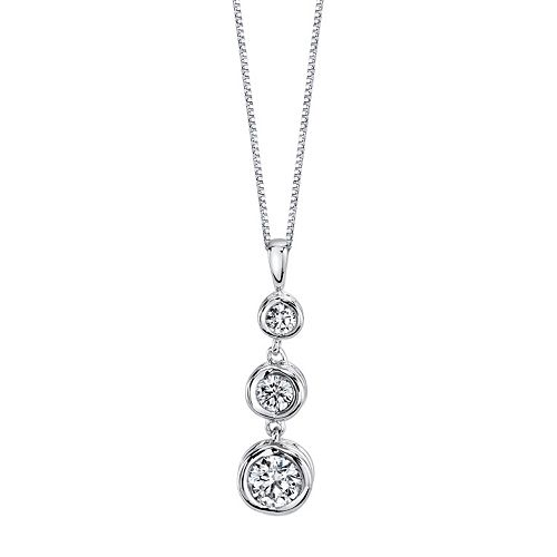 Sirena Collection 14k White Gold 1/4 Carat T.W. Certified Diamond 3-Stone Pendant Necklace