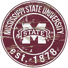 Mississippi State Bulldogs Distressed 24' x 24' Round Wall Art