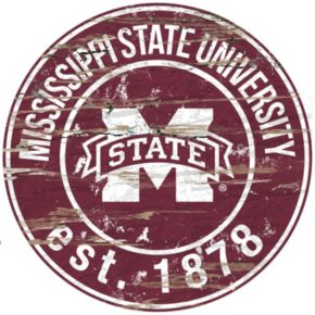 """Mississippi State Bulldogs Distressed 24"""" x 24"""" Round Wall Art"""