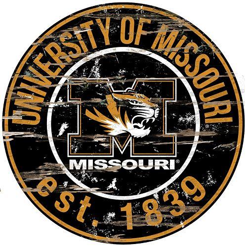 """Missouri Tigers Distressed 24"""" x 24"""" Round Wall Art"""