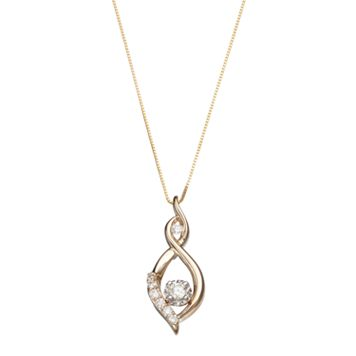 10k Gold 1/4 Carat T.W. Diamond Infinity Pendant Necklace