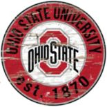 "Ohio State Buckeyes Distressed 24"" x 24"" Round Wall Art"