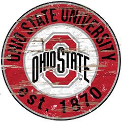Ohio State Buckeyes Distressed 24' x 24' Round Wall Art