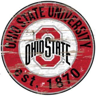 "Ohio State Buckeyes Distressed 24"" x 24"" Round Wall Art"
