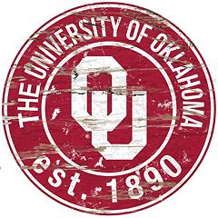 Oklahoma Sooners Distressed 24' x 24' Round Wall Art