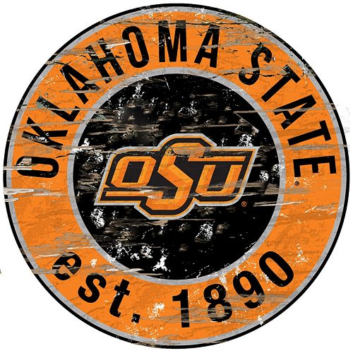 "Oklahoma State Cowboys Distressed 24"" x 24"" Round Wall Art"