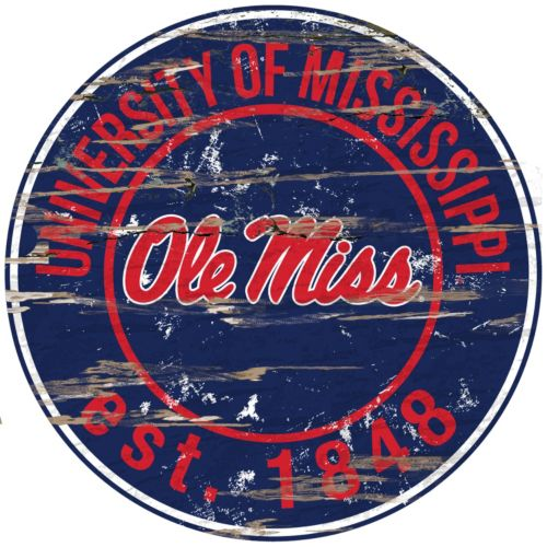 "Ole Miss Rebels Distressed 24"" x 24"" Round Wall Art"