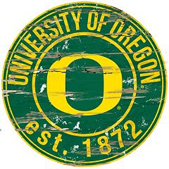 Oregon Ducks Distressed 24' x 24' Round Wall Art