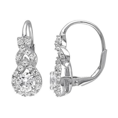 Lab-Created White Sapphire Sterling Silver Twist Drop Earrings