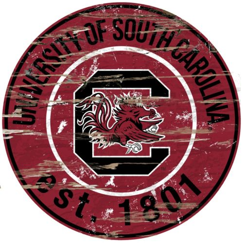 South Carolina Gamecocks Distressed 24 x 24 Round Wall Art