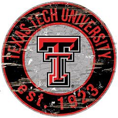 Texas Tech Red Raiders Distressed 24' x 24' Round Wall Art