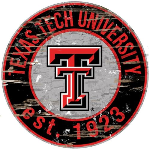 "Texas Tech Red Raiders Distressed 24"" x 24"" Round Wall Art"