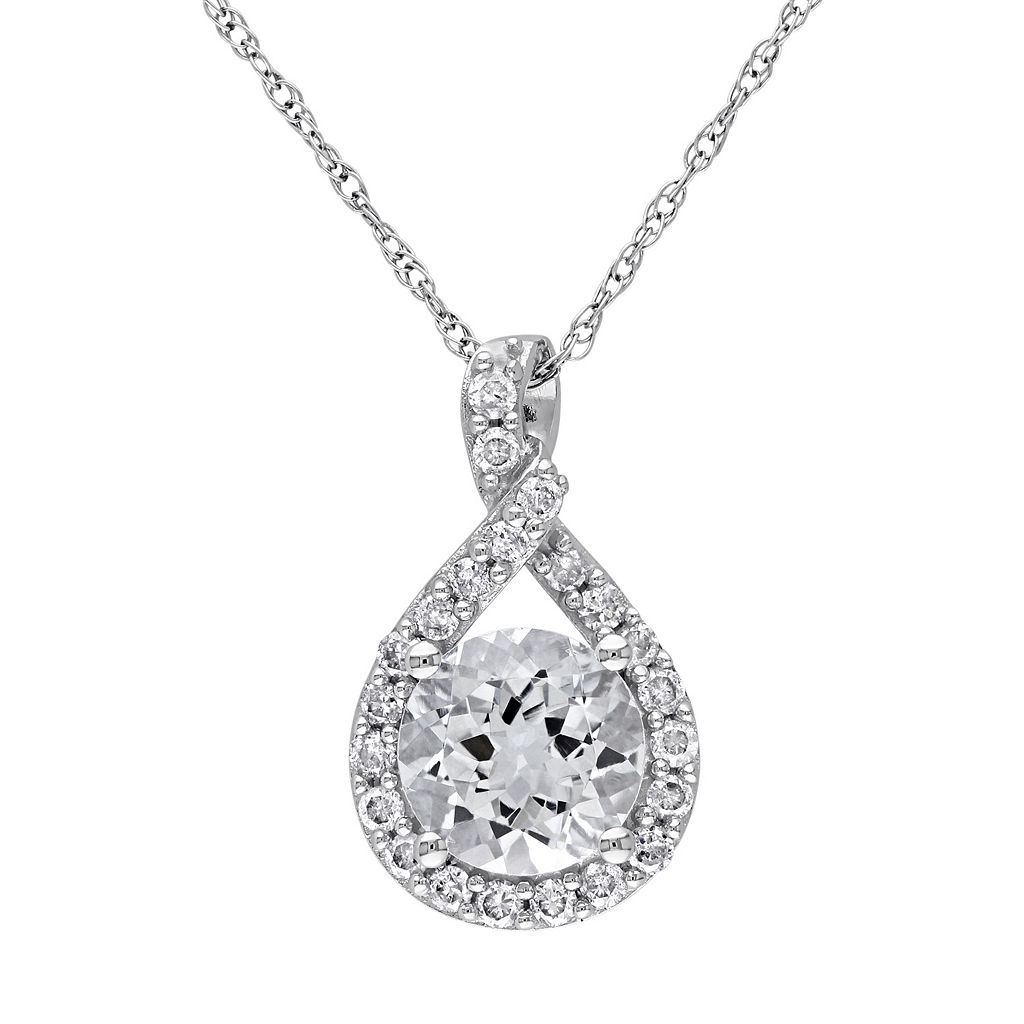 Lab-Created White Sapphire Sterling Silver Twist Pendant Necklace