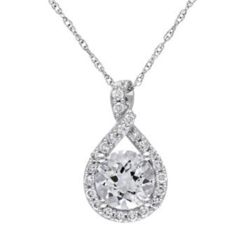 Stella Grace Lab-Created White Sapphire Sterling Silver Twist Pendant Necklace