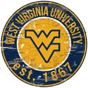 West Virginia Mountaineers Distressed 24' x 24' Round Wall Art