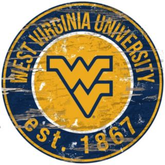 "West Virginia Mountaineers Distressed 24"" x 24"" Round Wall Art"