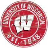 "Wisconsin Badgers Distressed 24"" x 24"" Round Wall Art"