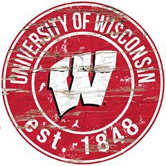 Wisconsin Badgers Distressed 24' x 24' Round Wall Art
