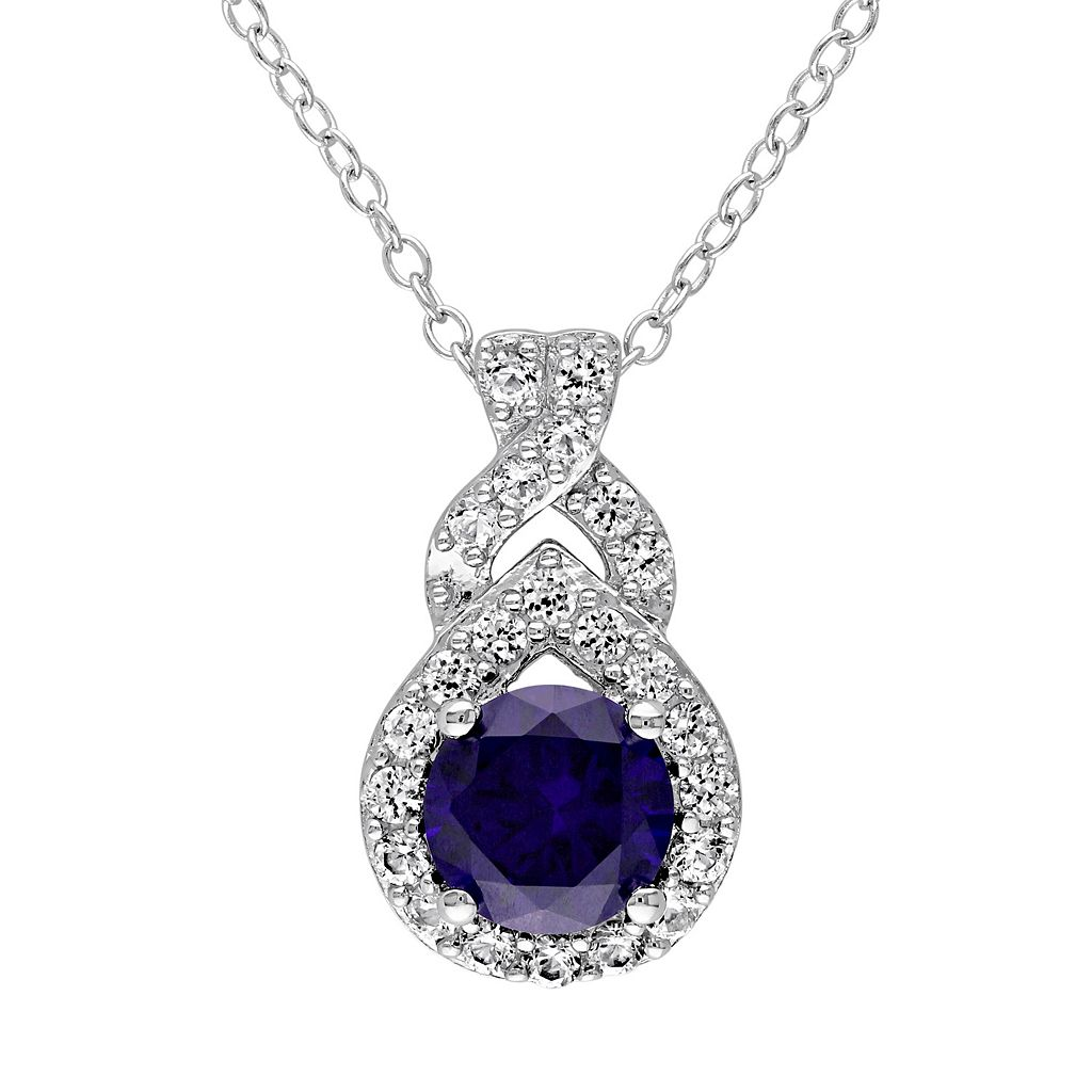 Lab-Created Blue & White Sapphire Sterling Silver Twist Pendant Necklace
