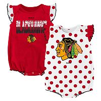 Baby Reebok Chicago Blackhawks Polka-Dot Bodysuit Set