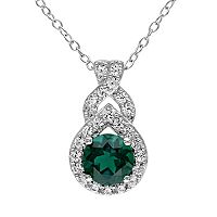 Lab-Created Emerald & Lab-Created White Sapphire Sterling Silver Twist Pendant Necklace