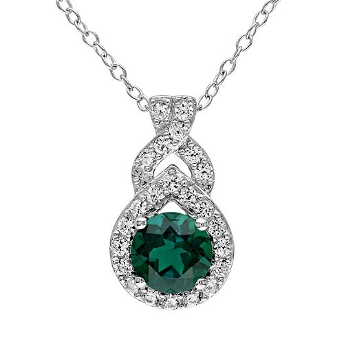 Stella Grace Lab-Created Emerald & Lab-Created White Sapphire Sterling Silver Twist Pendant Necklace