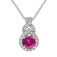 Lab-Created Ruby & Lab-Created White Sapphire Sterling Silver Twist Pendant Necklace